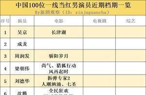 100位中国一线当红男演员近期档期一览