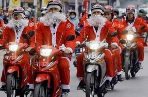越南人热衷过洋节,圣诞节街头人山人海,热闹程度堪比春节
