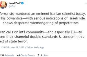 伊朗核科学家遇袭身亡,伊朗外长:明显迹象表明以色列参与了袭击
