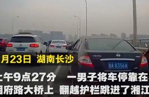 长沙男子大桥上弃车跳河,行车记录仪拍下全过程,被救上来已死亡