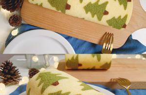 芝士奶酪蛋糕卷-圣诞树图案