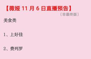 薇娅直播预告11月7号清单