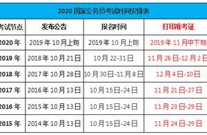 2020年国家公务员考试将于11月中下旬打印准考证