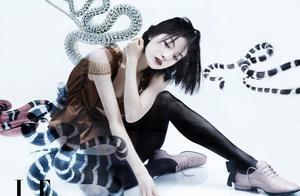 倪妮最新鎏金大片曝光,清冷妆容搭配蛇形眉,气质超绝心动了