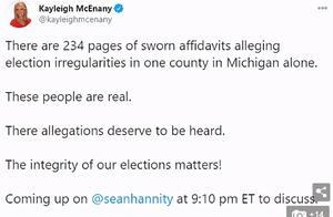 劲爆猛料!特朗普团队称出现死人票 白宫新闻秘书亮出234页舞弊证词、韦恩县60%选票的签名相同