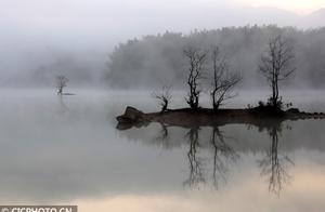 安徽黄山现平流雾美景
