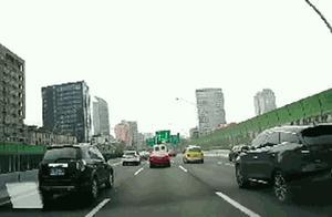 四车相撞!上海中环隧道口一车刹车不及 致后三辆车连环追尾