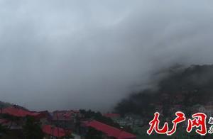 庐山现今冬首场瀑布云