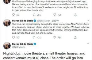 美國疫情形勢嚴峻,電影院全部關門停業,餐飲酒水只能點外賣