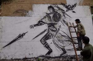 叹为观止!宁国小伙用烧火棍墙壁作画吸引50多万粉丝