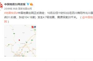 突发!四川绵阳市北川县发生4.7级地震