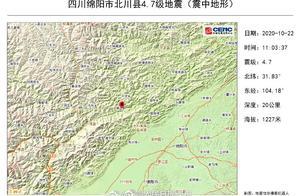 愿平安!北川4.7级地震与昨日几乎同一位置
