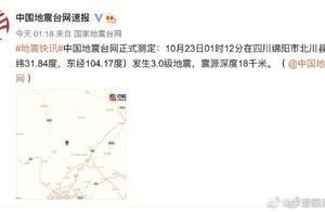 一个小时四川北川连发3次地震 几乎同一位置