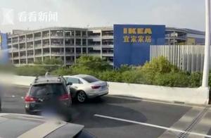 """上海中环外圈四车连环相撞 一车""""四脚朝天""""翻转……"""