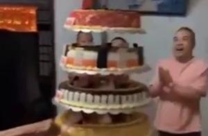 老人91岁大寿,子女置办10层巨型蛋糕祝寿!与全村人分享