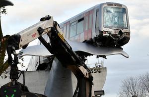 """荷兰轻轨冲出轨道被鲸鱼尾雕塑""""接住""""无人伤亡"""