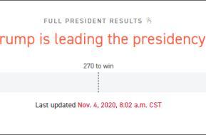 特朗普在白宫西翼观看实时选情