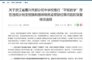 """嘉兴""""平板教学""""初中超4成,国务院督察组:存在违规分班、强制销售"""