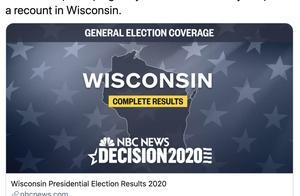 """美媒:特朗普竞选团队称将""""立即""""要求威斯康星州重新计票"""