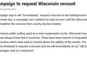 快讯!特朗普竞选团队:特朗普将要求威斯康星州重新计票
