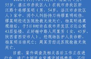 湛江公安通报:男子持刀捅死他人后坠楼砸中路人,双方均死亡