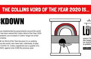 柯林斯词典宣布,2020年度代表词汇是它