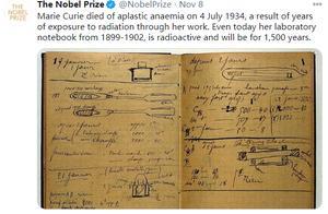 诺奖官方:居里夫人实验笔记至今仍具放射性 还将持续1500年
