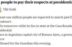 外媒:阿根廷政府将为马拉多纳举行国葬