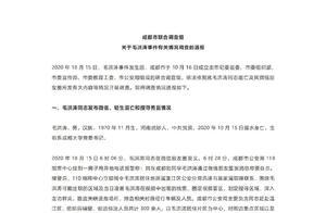 成都市联合调查组关于毛洪涛事件有关情况调查的通报