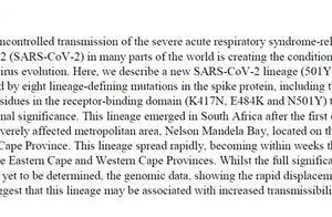 南非发现传播性更强变异新冠病毒,愈后患者或再次感染