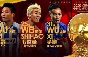2020金球奖前三正式出炉:武磊、韦世豪和吴曦名列前三