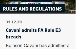 英足总:卡瓦尼因种族歧视被锦赛3场 罚款10万镑