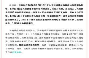 一例确诊病例曾到天桥剧场演出,北京天桥剧场:外环境标本采样120件,检测结果全部为阴性