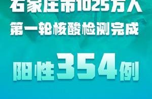 河北:石家庄市1025万人第一轮核酸检测阳性354例,出现社区传播、多代传播