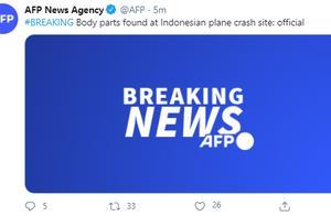 外媒:印尼客机失事现场发现人体遗骸