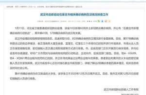 武汉启动石家庄市相关确诊病例在汉情况排查