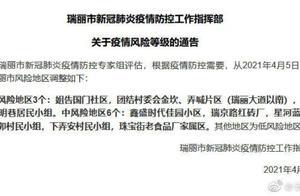 云南瑞丽3地调整为高风险地区,明起城区第二轮全员核酸检测
