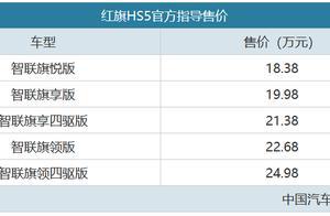 里外焕然一新 红旗HS5售18.38-24.98万元