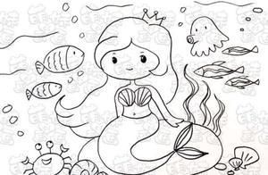 童话故事简笔画 神秘海底世界里的美人鱼公主,涂上漂亮的颜色吧