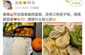 孙茜晒出央视春晚的年夜饭,三色饺子实力抢镜