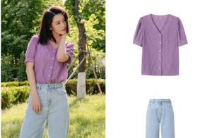 李沁户外写真清新甜美!淡紫色上衣配牛仔裤,满满的夏日清爽气息