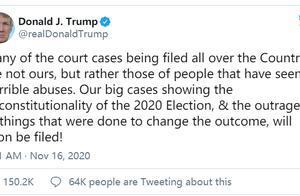 """特朗普发推,称有证据显示选举违宪,将很快会再提出""""大案件""""诉讼"""