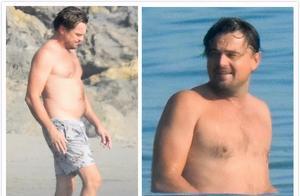 45岁小李子现身加州海滩,大胆展示真实身材,不惧寒冷开心戏水