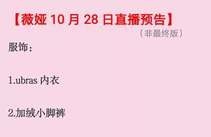 薇娅直播预告10月28号清单