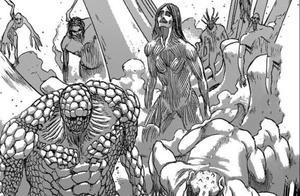 进击的巨人135话,历代九大巨人登场,三笠开启战神模式