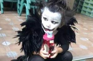 家长的化妆技术一年比一年进步,幼儿园万圣节妆容真实度up