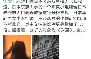 日本年轻女性不婚数增1.5倍:无人陪我夜已深,无人与我把酒分