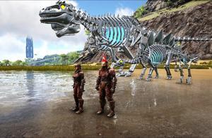 方舟生存进化-跳远比赛 钢铁南巨龙VS钢铁迅猛龙 猜谁赢了?