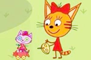 咪好一家:糖果猫咪被男孩嘲笑说女孩子不擅长开车,用小鱼车比赛