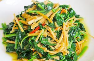 """厨师长分享特色菜""""菠菜炒馓子"""",清香酥脆,家家户户都这样吃"""